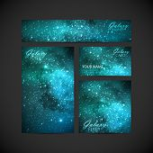 picture of greeting card design  - set of vector visual corporate identity with galaxy Milky Way background - JPG