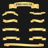 Realistic Golden Glossy Web Ribbon