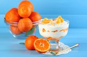 Tasty milk dessert with fresh tangerine pieces in glass bowl, on color wooden background