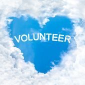 Volunteer Word Inside Love Cloud Blue Sky Only