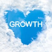 Growth Word Inside Love Cloud Blue Sky Only