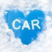 Car Word Inside Love Cloud Blue Sky Only