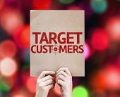 Target Customers card with colorful background with defocused lights