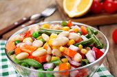 Healthy beans salad on table
