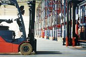 stock photo of pallet  - forklift loader pallet stacker truck equipment at warehouse - JPG