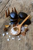 Aroma Spa Set On Wooden Table