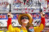 Fort Worth, TX - Apr 07, 2014: Joey Lagano (22) wins the