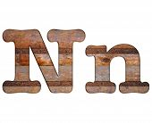Letter N Wooden And Rusty Metal.