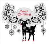Christmas background decorative reindeer with decorative horns