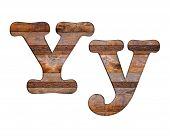 Letter Y Wooden And Rusty Metal.