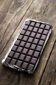 Dark Chocolate Bar In Opened Silver Foil