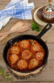 Fried Meatballs With Tomato Sauce And Spices In Frying Pan