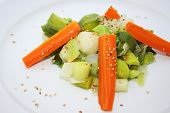 Leek With Carrots And Sesame