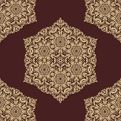 Brown Orient Seamless Vector Pattern. Abstract Background