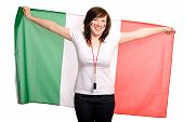 Female Supporter Of Italian Team, Isolated On White