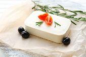 Feta cheese on table