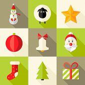9 Christmas Flat Icons Set 8