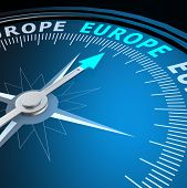 Europe Word On Compass