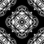 Black and White Orient Seamless Vector Pattern. Abstract Background