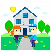 picture of postman  - Postman Delivering A Letter to A Woman in Front of Her House  - JPG
