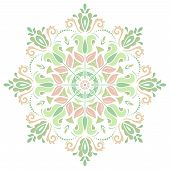 Green and Pink Damask Vector Pattern. Orient Background