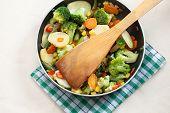 Fried Vegetables In A Griddle