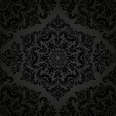Black Damask Seamless Vector Pattern. Orient Background