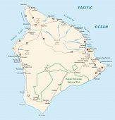 picture of pacific islands  - Detailed road map of the island hawaii big island - JPG
