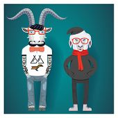 Symbols of Chinese New Year-goat and sheep in hipster clothes