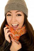Joyful Excited Asian American Teen Female Model Wearing Beanie