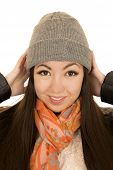 Cute Teen Female Model Adjusting Her Winter Beanie