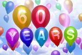 60 Years Happy Birthday Balloon Colorful Balloons