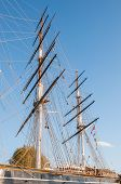 image of mast  - Masts of the tea clipper Cutty Sark docked at Greenwich in London - JPG