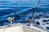 stock photo of game-fish  - Big Game fishing in Canary Islands, Spain. Fishing reels and rods on boat.