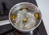 Glasses For Boiling Onion Pineapple Chutney Preparation