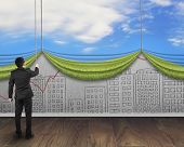 Businessman Pull Open Sky Curtain Covered Cityscape Doodles Concrete Wall
