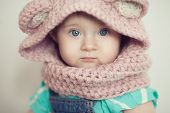 Closeup Baby Face In Snood