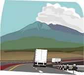 two trucks on Road