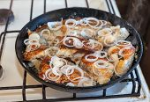 Fried Fish In An Old Frying Pan