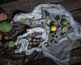 picture of rune  - Still life of ingredients for making potions witch - JPG