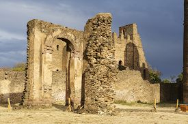 stock photo of ethiopia  - Medieval fortress in Medieval fortress in Gondar - JPG