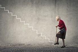 foto of grandma  - Grandma going up the stairs - JPG