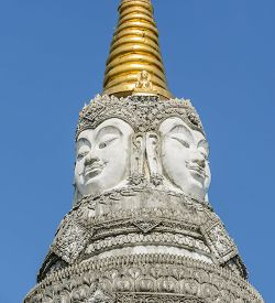 picture of brahma  - Wat Pan Waen chedi with four faces of Brahma in Chiang Mai Thailand - JPG