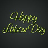 pic of labourer  - illustration of stylish shiny text for Happy Labour day in gray background - JPG