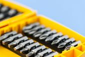 stock photo of insert  - Closeup on phillips and robertson screwdriver insert bits of various sizes - JPG