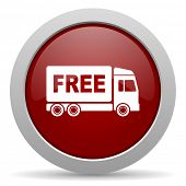 stock photo of free-trade  - free delivery red glossy web icon  - JPG