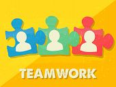 stock photo of team building  - teamwork and puzzle pieces with person signs over yellow background grunge flat design business team building concept - JPG