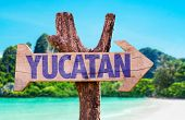 picture of yucatan  - Yucatan wooden sign with beach background - JPG