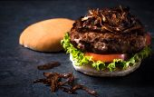 picture of beef-burger  - Beef burger with grilled onion on topselective focus - JPG
