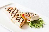 stock photo of sandwich wrap  - chicken wrap sandwich - JPG